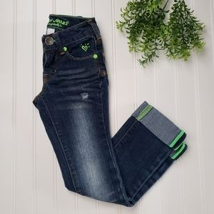 Justice Straight Leg Distressed Cuffed Jeans sz 6S
